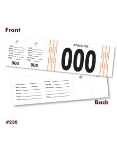 Vehicle Stock Number Tags