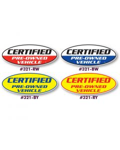 "Vinyl Highlights ""Certified"" Oval Slogans"