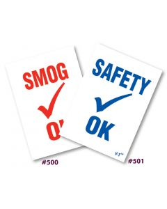 Smog/Safety OK Static Cling Inspection Stickers